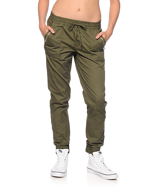 almost famous olive twill jogger pants at zumiez pdp. Black Bedroom Furniture Sets. Home Design Ideas