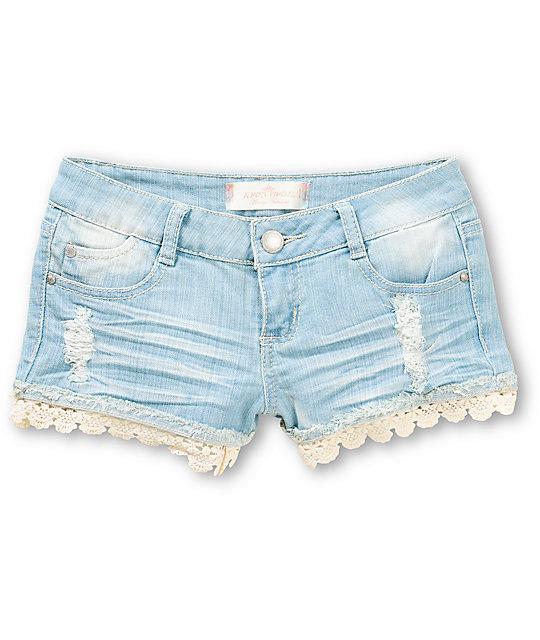 Almost Famous Olivia Lace Hem Denim Shorts at Zumiez : PDP
