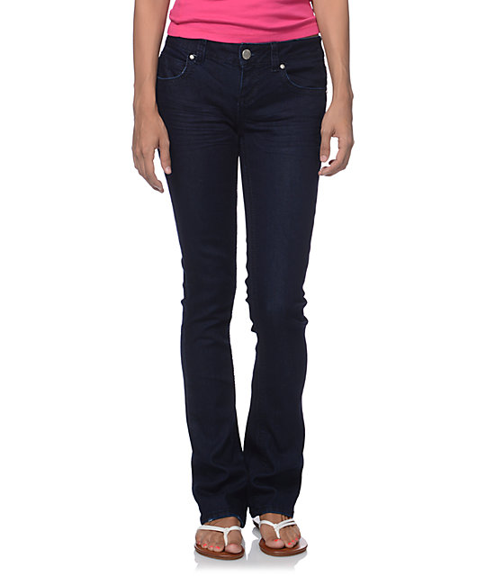 Almost Famous Pam Dark Blue Bootcut Skinny Jeans