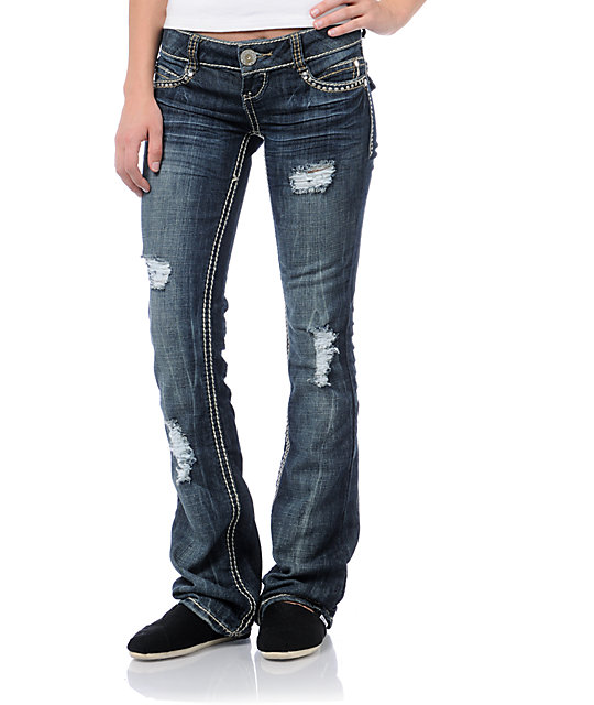 Almost Famous Porsha Dark Blue Distressed Bootcut Jeans at Zumiez ...
