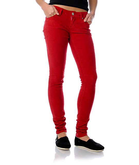 Almost Famous Red Corduroy Skinny Pants
