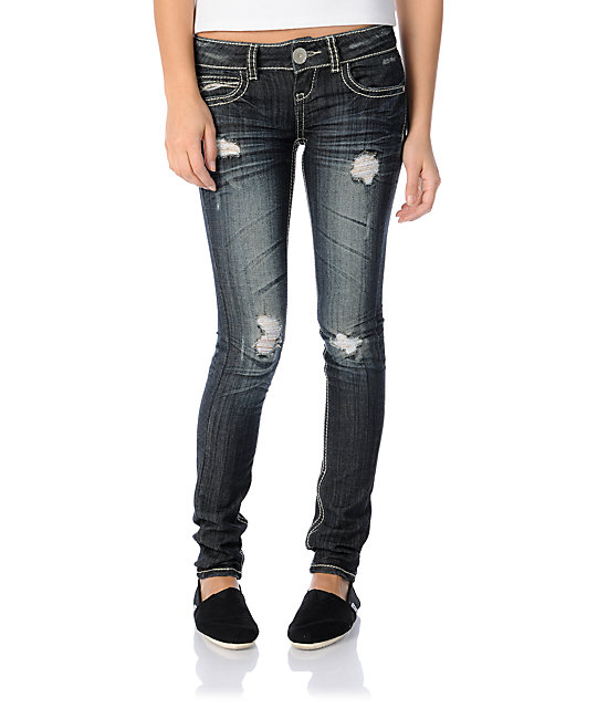 Almost Famous Reina Dark Blue Distressed Super Skinny Jeans