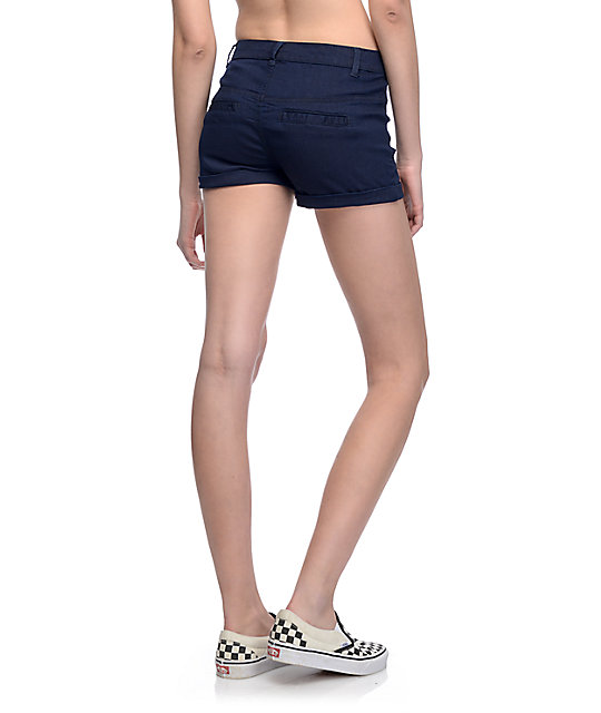 Almost Famous Rinse High Waisted Indigo Sailor Shorts