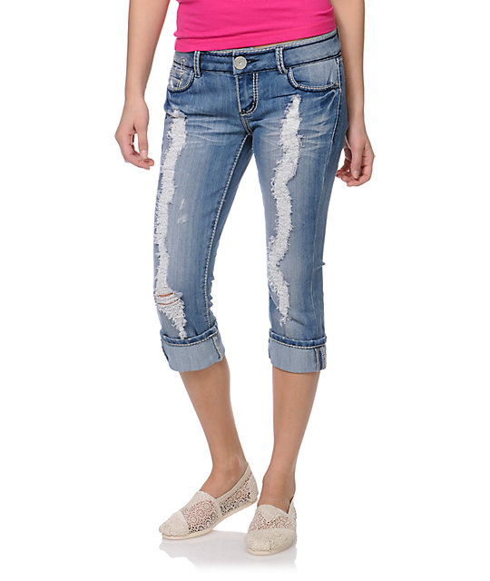 Almost Famous Sam Dark Sandblast Cuffed Crop Jeans