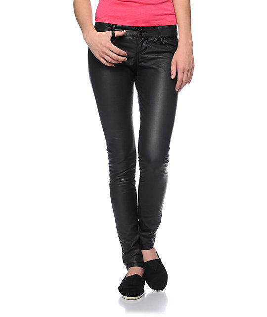 Almost Famous Sammy Purple Overdye Pleather Skinny Pants