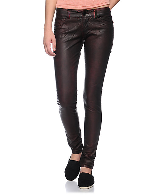 Almost Famous Sammy Red Overdye Pleather Skinny Pants