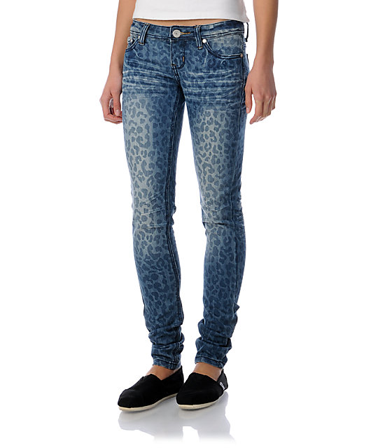 Almost Famous Sasha Blue Leopard Print Super Skinny Jeans