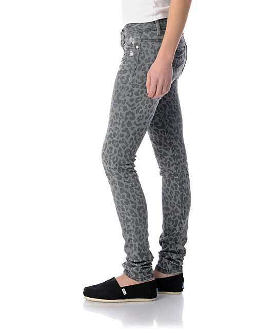 Almost Famous Sasha Grey Leopard Print Super Skinny Jeans