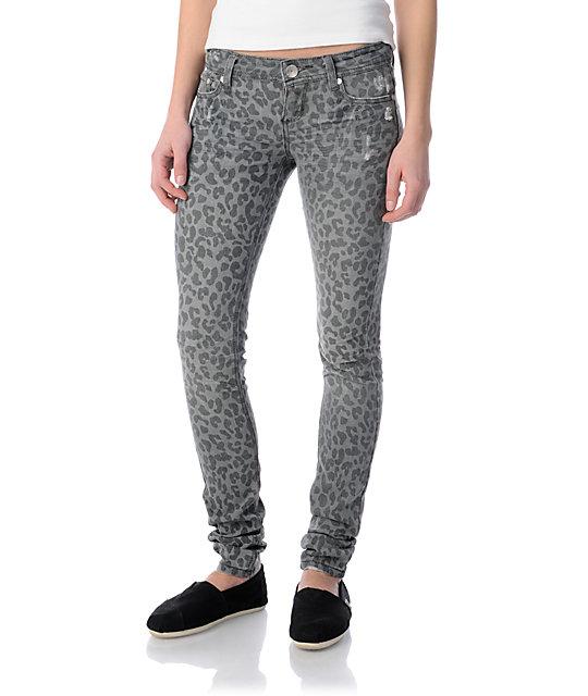 Almost Famous Sasha Grey Leopard Print Super Skinny Jeans