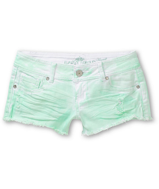 Almost Famous Scarlet Mint Tie Dye Cut Off Shorts