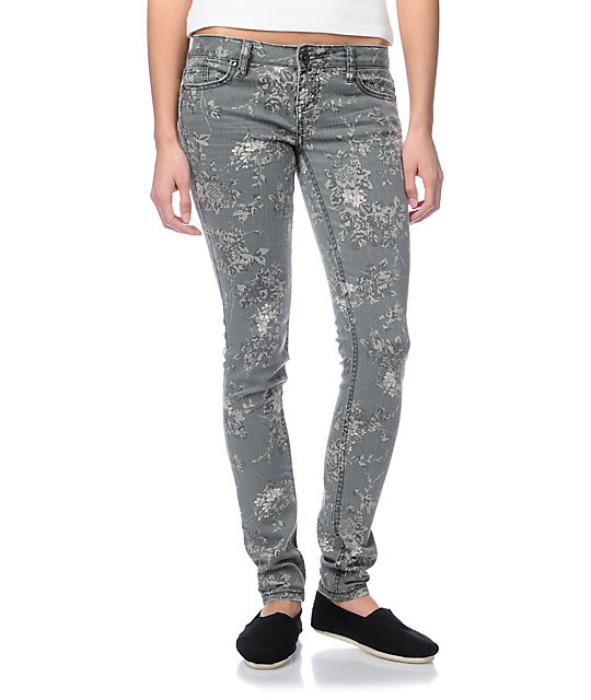 Almost Famous Sharon Grey Floral Skinny Jeans