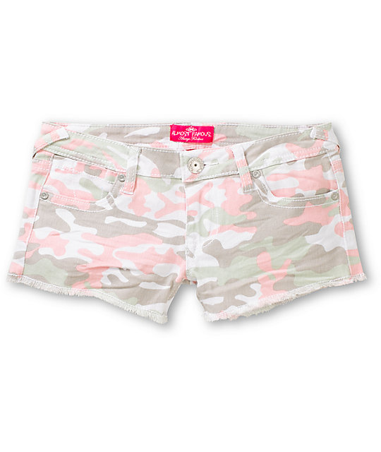 Almost Famous Sherie Pink Camo Cut Off Shorts
