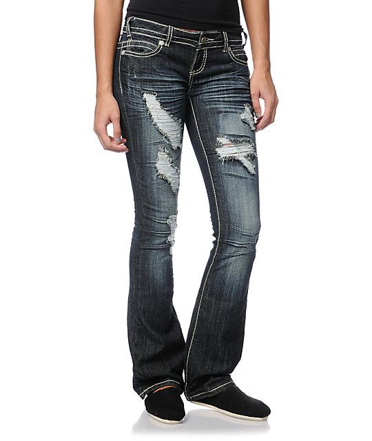 Almost Famous Tamara Dark Indigo Bootcut Jeans
