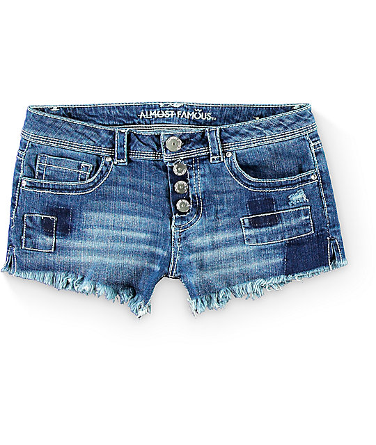 Almost Famous Taylor Medium Wash Patch Shorts