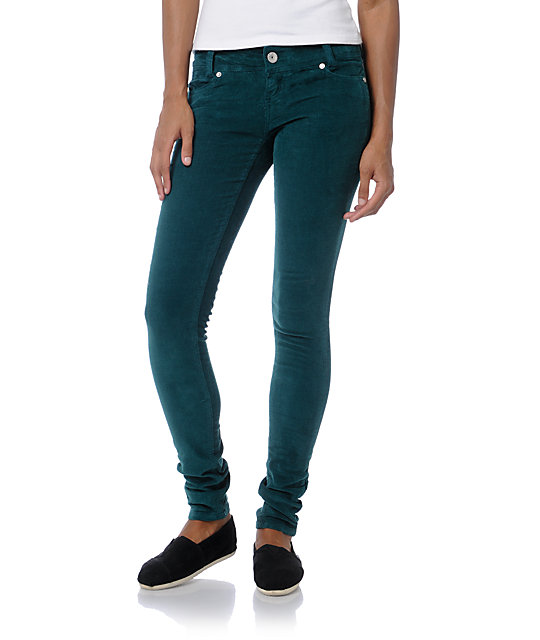 Almost Famous Teal Skinny Corduroy Pants at Zumiez : PDP