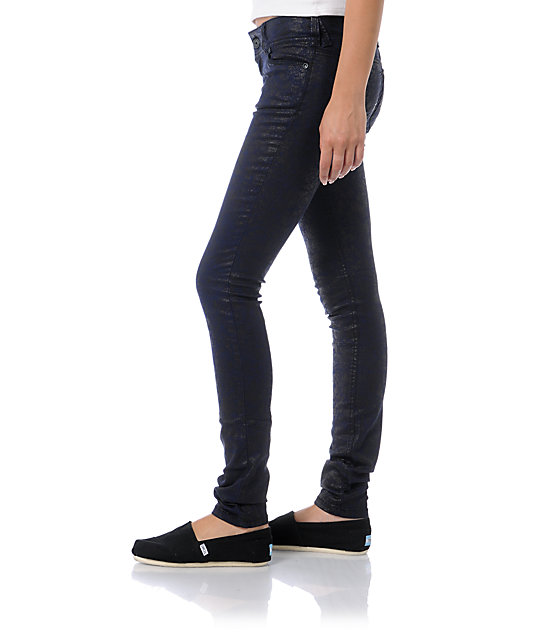 Almost Famous Trisha Blue & Black Print Jeggings