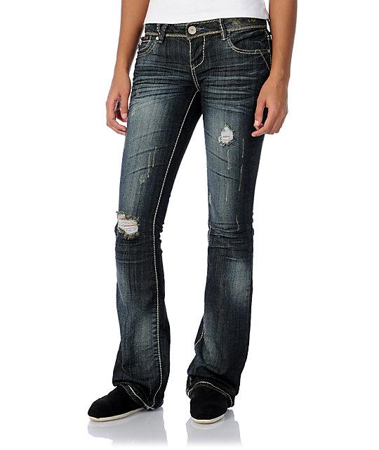 Almost Famous Trisha Dark Blue Bootcut Jeans