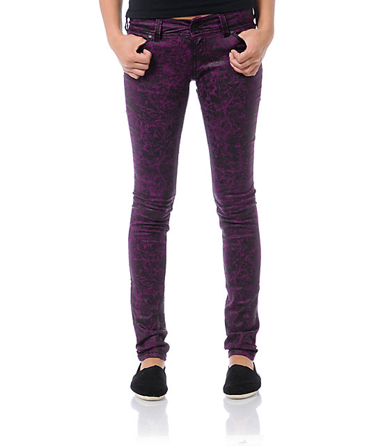 Almost Famous Trisha Purple & Black Print Jeggings