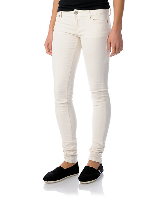 Almost Famous White Corduroy Skinny Pants