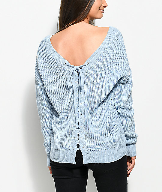 Almost Famous Wren Lace Up Back Light Blue Sweater | Zumiez