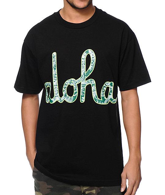 Aloha Army Floral Script Black T-Shirt