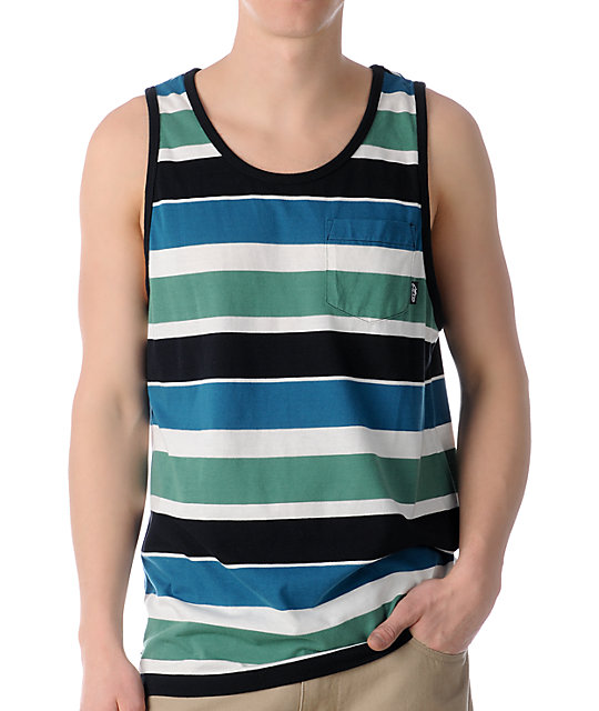 Alpinestars Fixate Green Striped Tank Top
