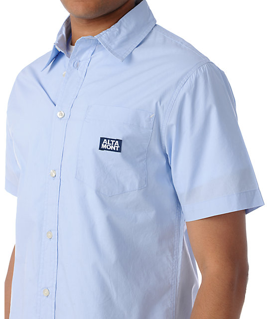 Altamont Cheifton Light Blue Short Sleeve Woven Button Up Shirt