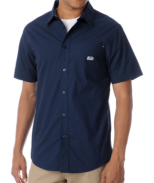 Altamont Cheifton Navy Short Sleeve Woven Button Up Shirt