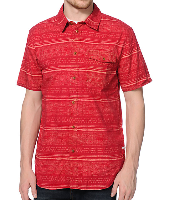 Altamont Fielder Red Print Button Up Shirt