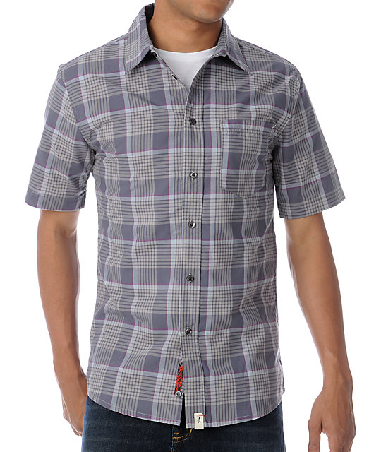 Altamont Kicker Grey Plaid Short Sleeve Woven Button Up Shirt