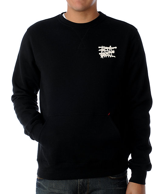 Altamont No Logo Black Crew Neck Sweatshirt