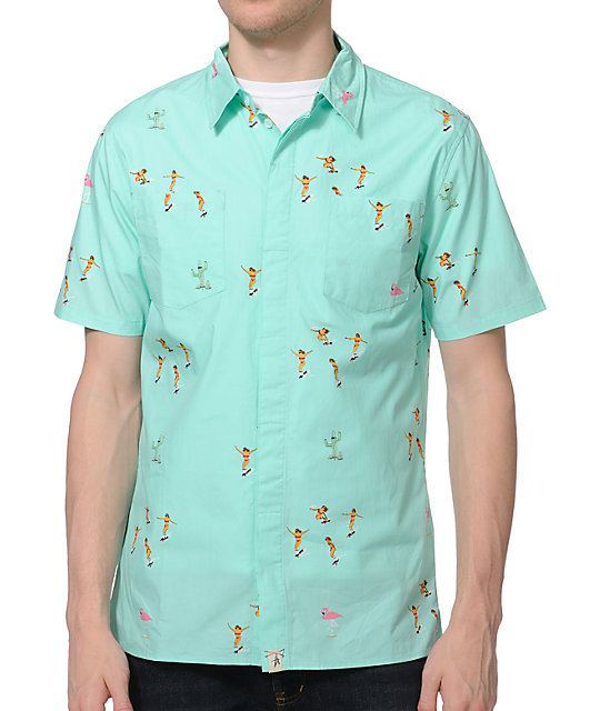 Altamont Skatebirds Mint Button Up Shirt