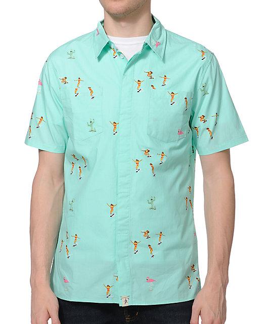 altamont skatebirds mint button up shirt