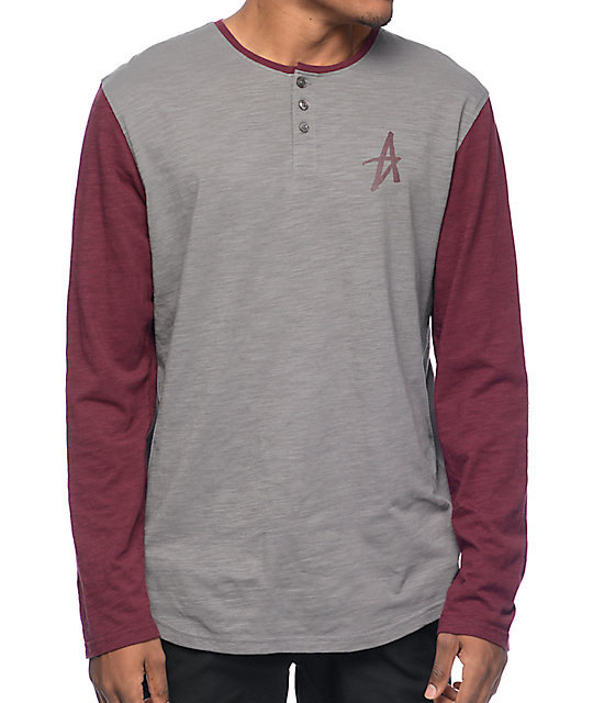 Altamont Spansive Grey & Burgundy Long Sleeve Henley T-Shirt at ...