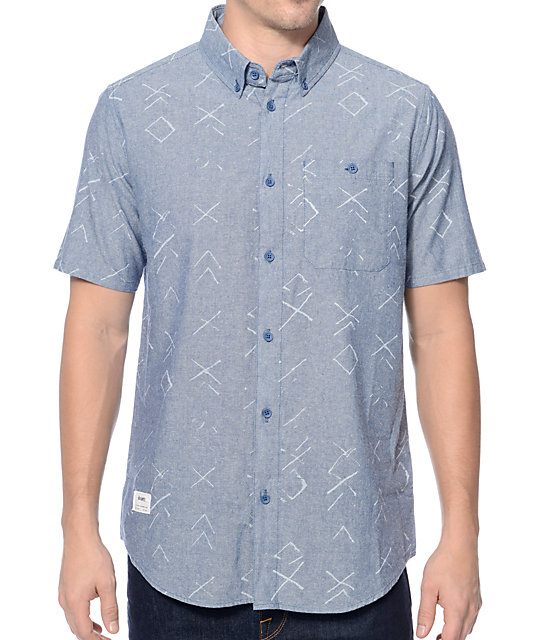 Altamont Triage Print Indigo Button Up Shirt