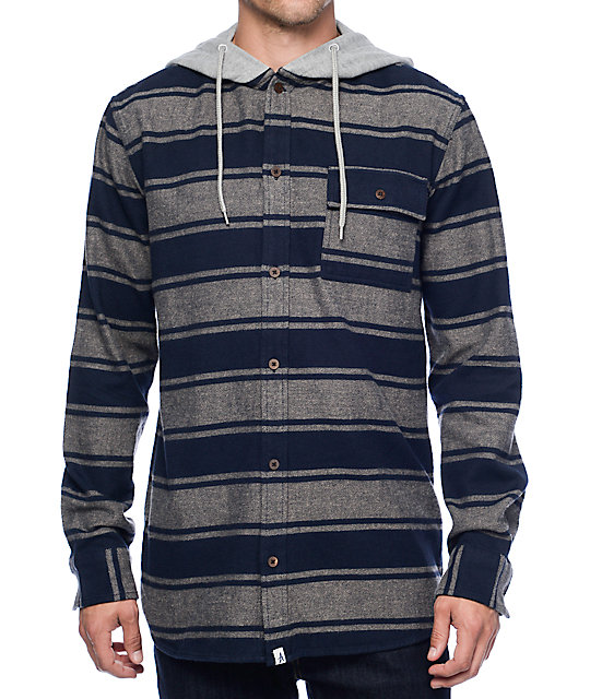 Altamont Wafford Navy & Grey Hooded Flannel Shirt