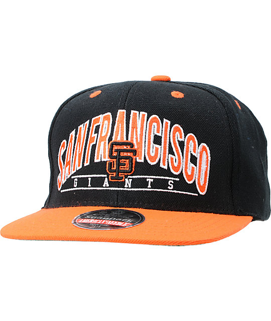 American Needle Giants Arched Black Snapback Hat