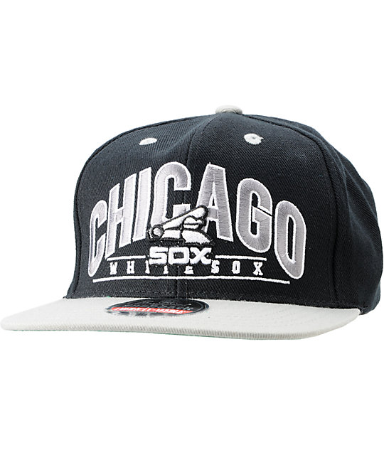 American Needle White Sox Black Arched Snapback Hat