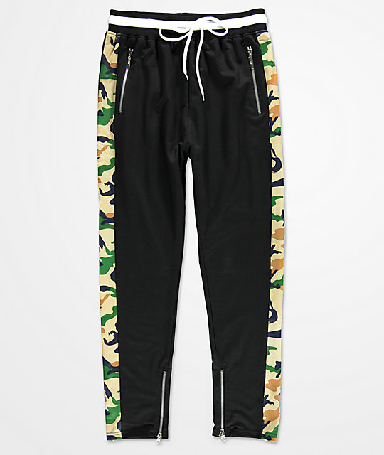 American Stitch Black & Camo Ribbed Track Pants