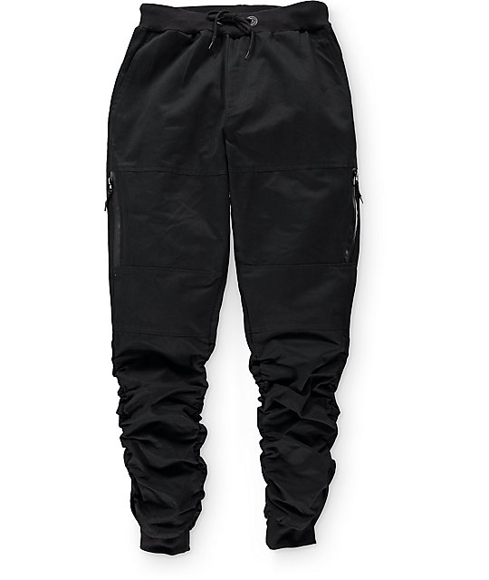 Unique Trillium Jane Black Twill Zipper Joggers