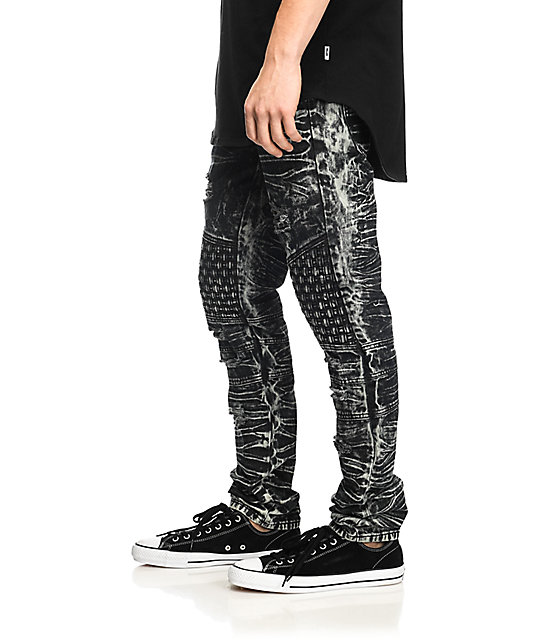 American Stitch Denim Collection Destroyed Weave Black Acid Wash Denim Jeans