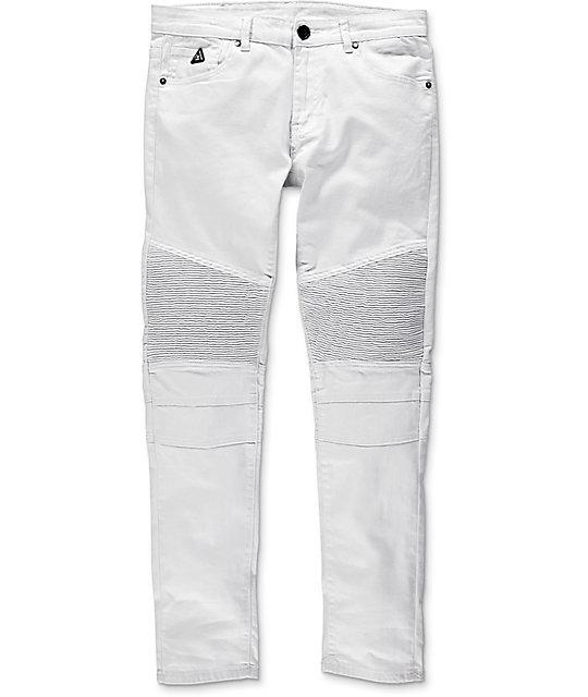 American Stitch Denim Collection Moto White Slim Fit Jeans