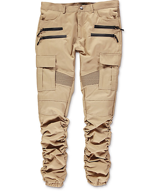 Stitch Khaki Cargo Moto Twill Bungee Jogger Pants