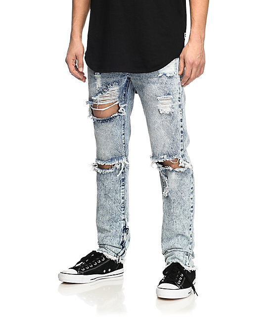 Stitch Light Acid Wash Ripped Moto Jeans