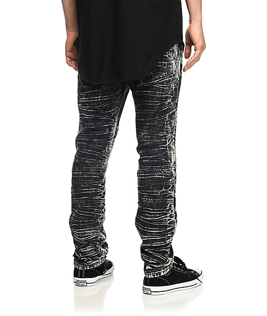 American Stitch Ripped Black Acid Wash Moto Jeans