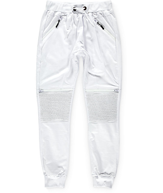 moto pants mens. american stitch white knit moto zip jogger pants mens