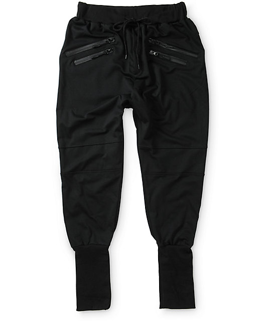 American Stitch Zipper Tall Ribbed Jogger Pants
