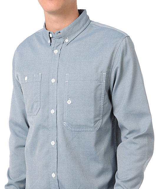 Analog Anvil Grey Long Sleeve Button Up Shirt