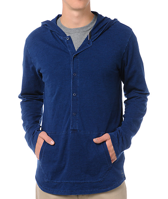 Analog Dagger Blue Hooded Knit Shirt