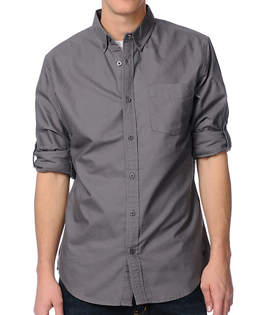 Analog Kenton Grey Long Sleeve Button Up Shirt